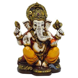 A Colored U0026 Gold Statue Of Lord Ganesh Ganpati Elephant Hindu God Made From Marble Powder In India - Ganesh Idol, Transparent background PNG HD thumbnail