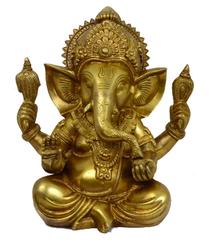 Brass Ganesha Statue - Ganesh Idol, Transparent background PNG HD thumbnail