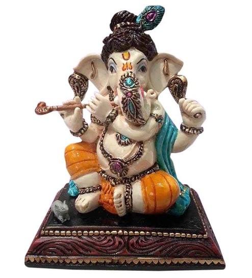Earth Ganesha Idol In Krishna Avatar Polyresin Statue - Ganesh Idol, Transparent background PNG HD thumbnail