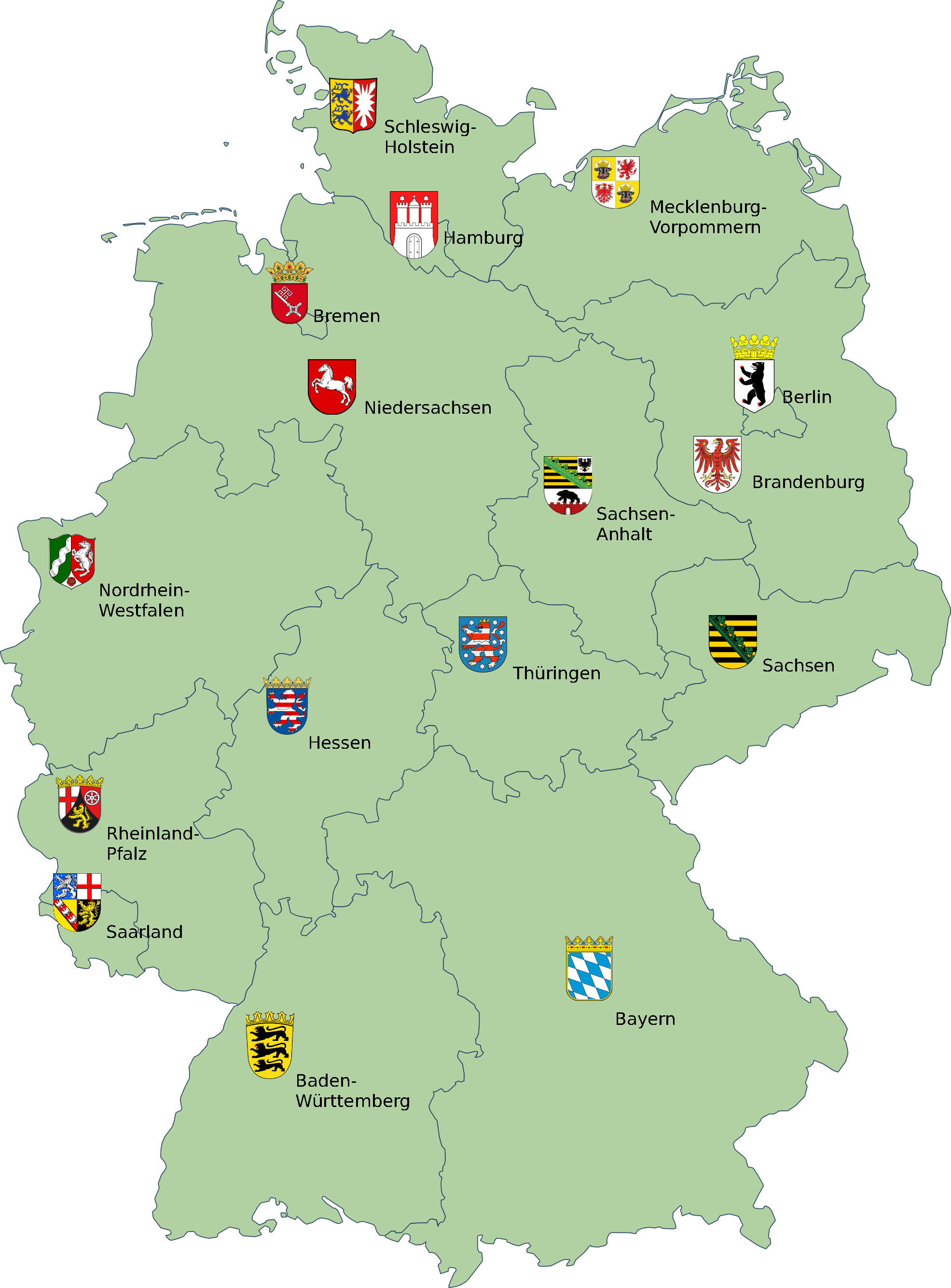 File:map Germany With Coats Of Arms.png - Germany, Transparent background PNG HD thumbnail