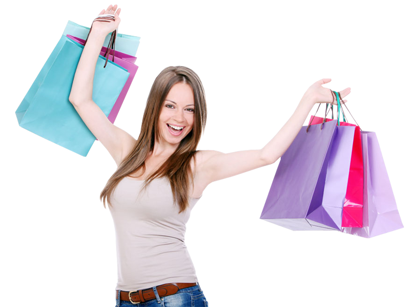 Girl With Shopping Bags PNG