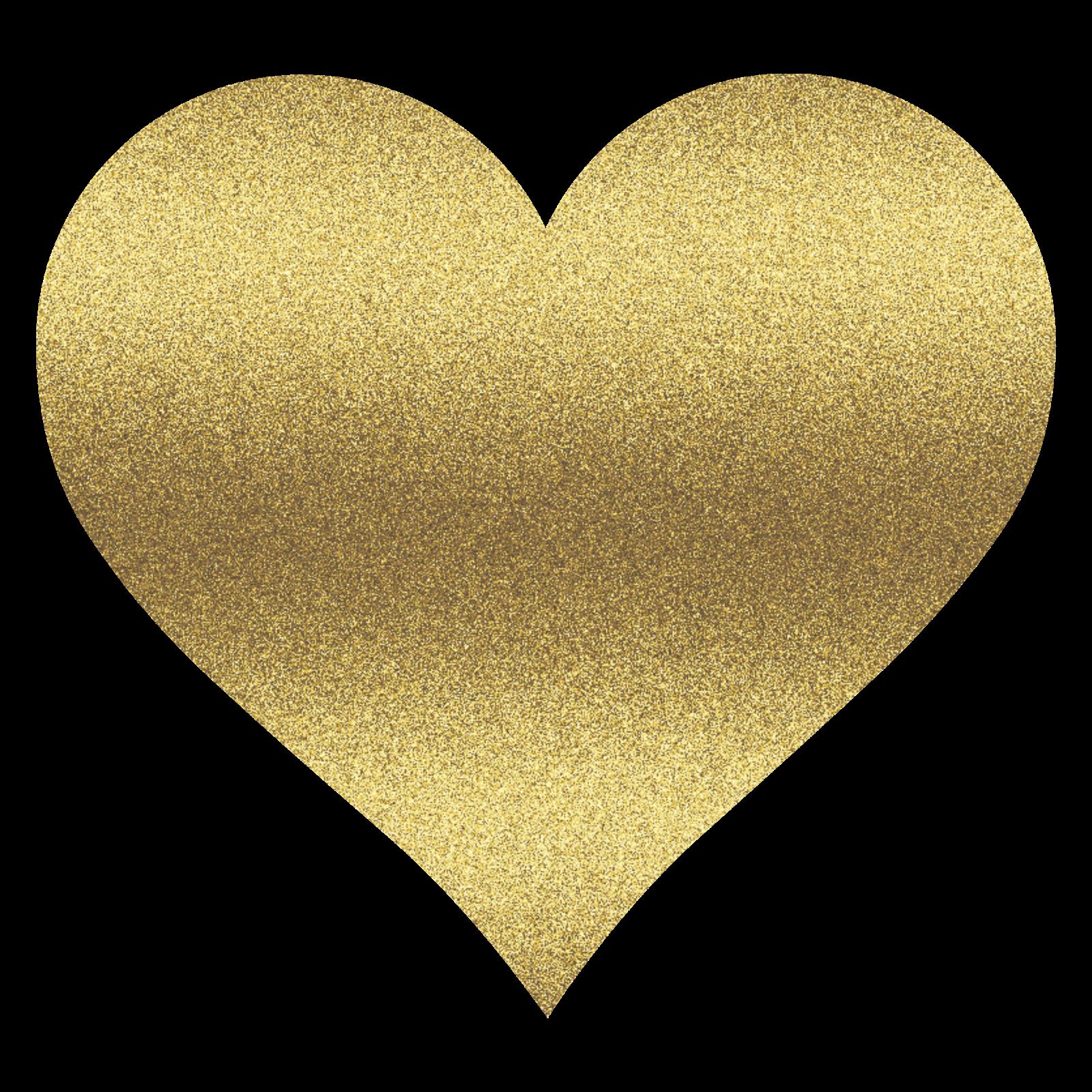 Glitter Heart Clipart - Gold Glitter Heart, Transparent background PNG HD thumbnail