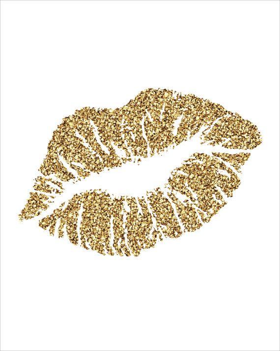 Glitter Lips Kiss Black Clipart - Gold Glitter Heart, Transparent background PNG HD thumbnail