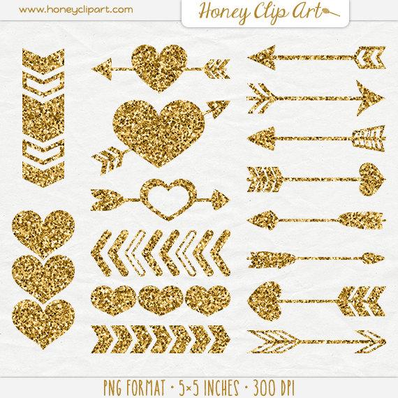 Gold Digital Hearts And Wedding Arrows   Gold Glitter Heart Clip Art   Tribal Gold Glitter Arrow Clipart   Aztec Valentine   Love Graphics - Gold Glitter Heart, Transparent background PNG HD thumbnail
