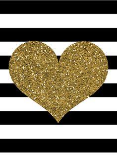Gold Glitter Heart Print; Black And White Stripes; Valentineu0027S Day Print; Diy Printable - Gold Glitter Heart, Transparent background PNG HD thumbnail
