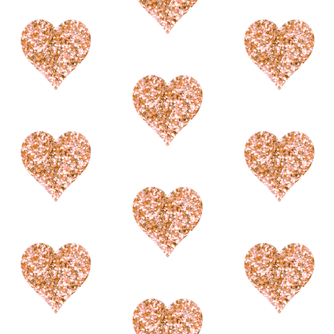 Rose Gold Glitter Hearts Fabric By Willowlanetextiles On Spoonflower   Custom Fabric - Gold Glitter Heart, Transparent background PNG HD thumbnail