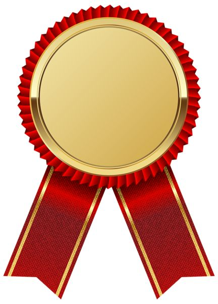 Gold Medal With Red Ribbon Png Clipart Image - Ribbon, Transparent background PNG HD thumbnail