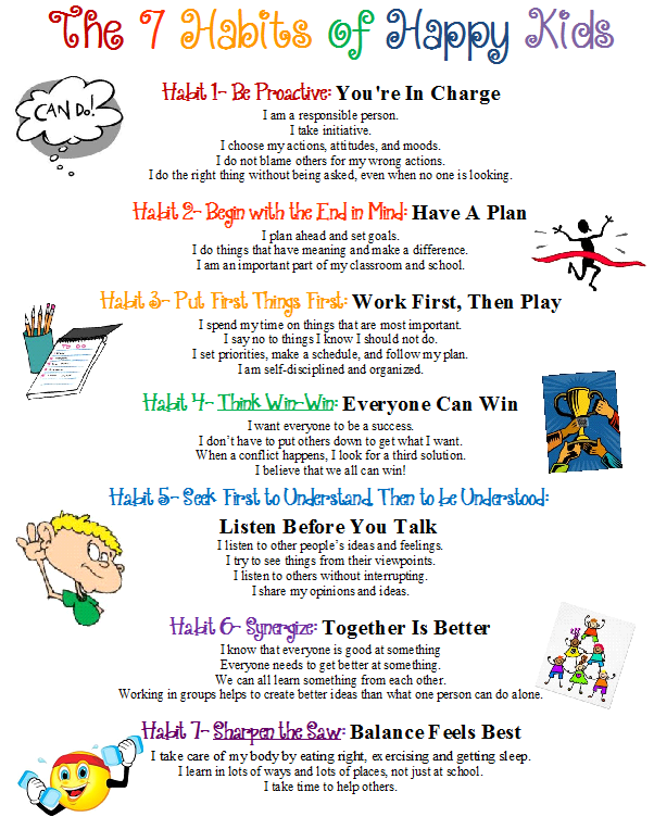 Confessions Of A School Counselor: 7 Habits Poster   Kids   Pinterest   Open House Night, School Counselor And Open House - Good Habits For Kids, Transparent background PNG HD thumbnail