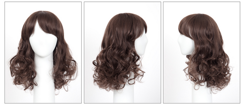 Glam Style Medium Length Curly Hair Wig - Hair Wig, Transparent background PNG HD thumbnail
