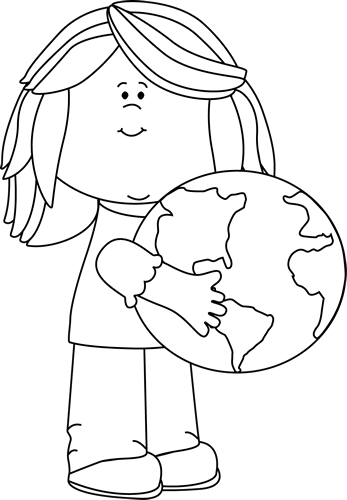 Black And White Girl Hugging Earth - Hug Black And White, Transparent background PNG HD thumbnail