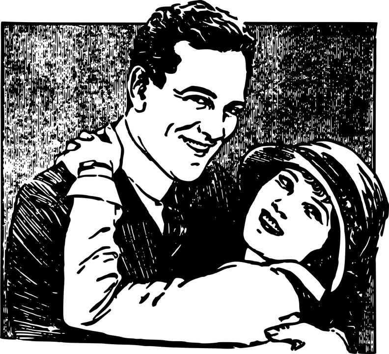 Couple, Embrace, Hat, Hug, Kiss, Love, Man, Smile - Hug Black And White, Transparent background PNG HD thumbnail