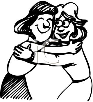 Friend Hug Clip Art Image - Hug Black And White, Transparent background PNG HD thumbnail