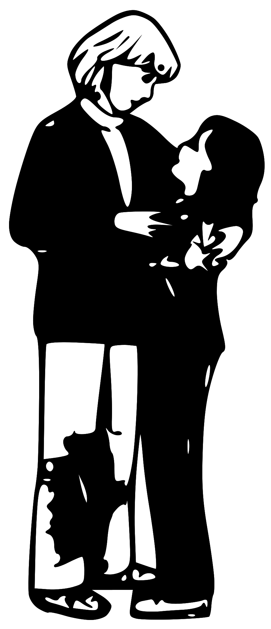Mother And Daughter Hugging Clipart - Hug Black And White, Transparent background PNG HD thumbnail