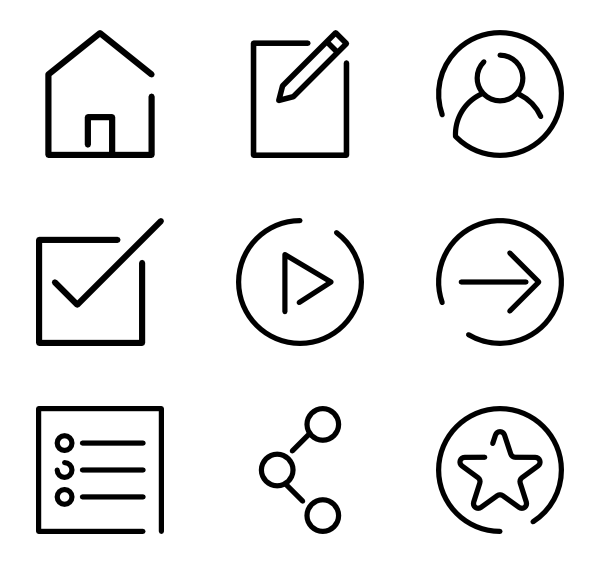 Business Set 100 Icons. Web Navigation Line Craft - Icon Set, Transparent background PNG HD thumbnail