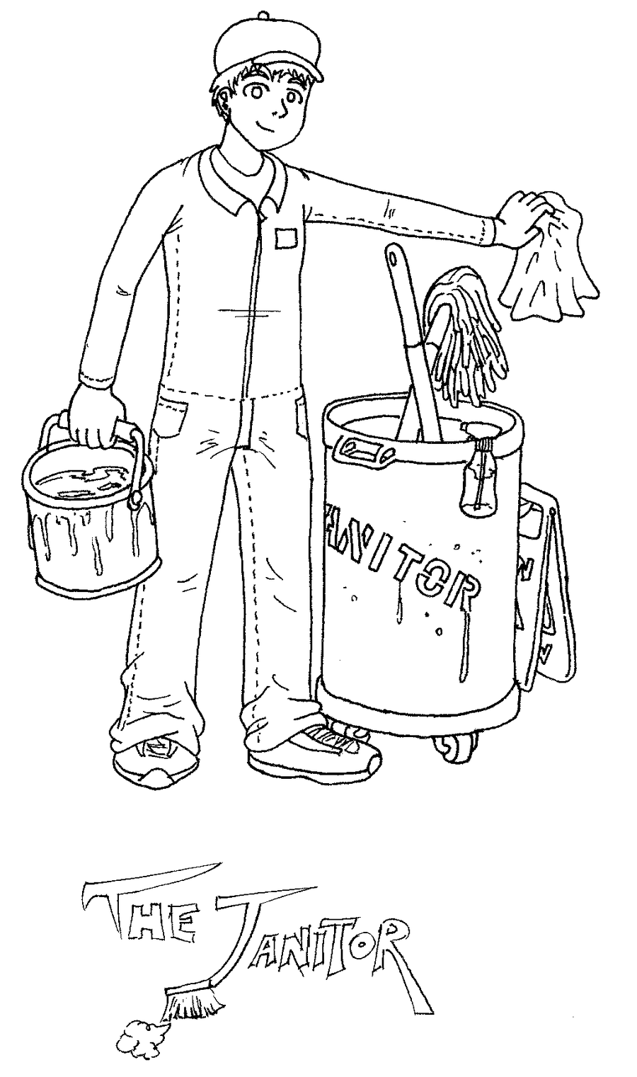 Janitor PNG Black And White