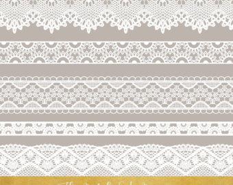 Lace Border Clipart Set   In White, Grey U0026 Black   Instant Download   24 - Laceborder, Transparent background PNG HD thumbnail