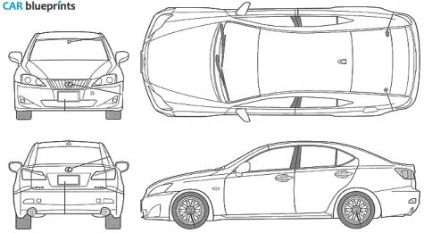 2006 Lexus Is 250 Sedan Blueprint - Lexus Auto Vector, Transparent background PNG HD thumbnail