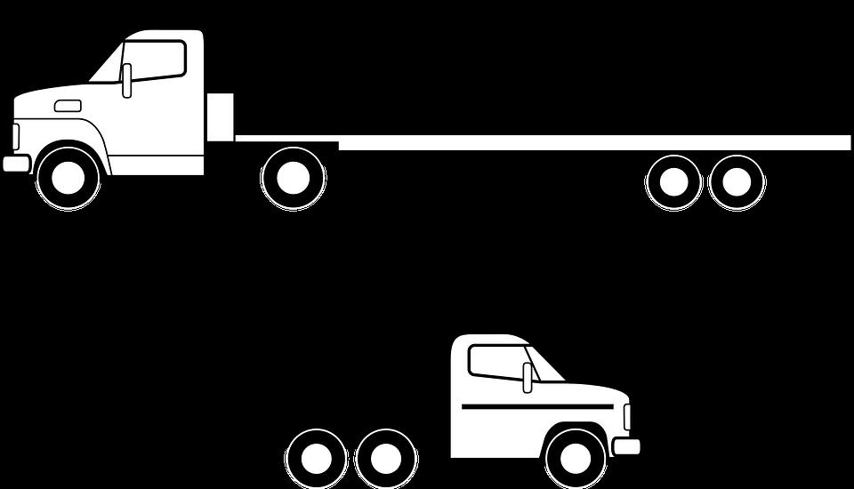 Lkw, Flachbett, Fahrzeug, Verkehr, Versandkosten - Lkw Black And White, Transparent background PNG HD thumbnail