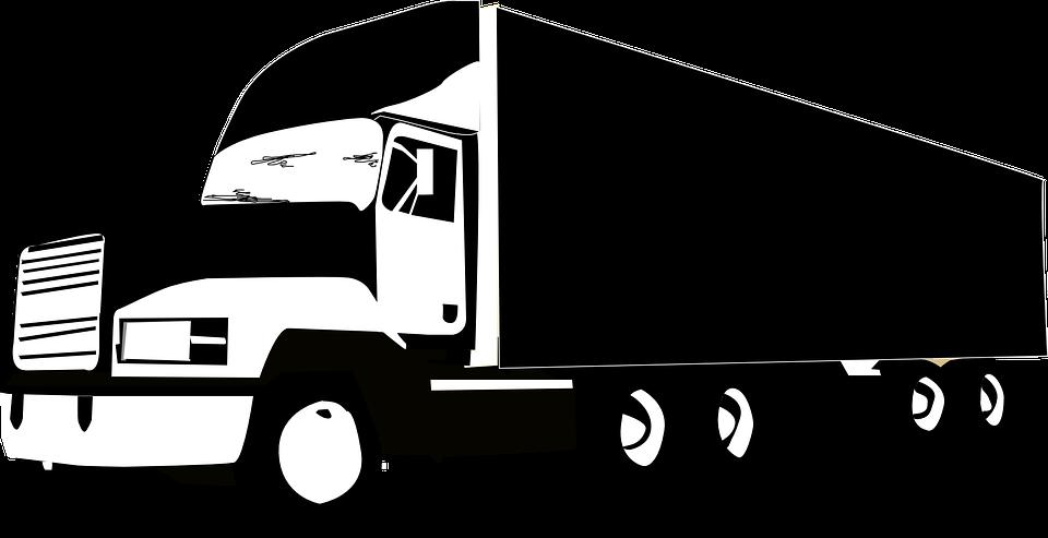 Lkw, Riesige, Fahrzeug, Transport, Logistik, Schwarz - Lkw Black And White, Transparent background PNG HD thumbnail