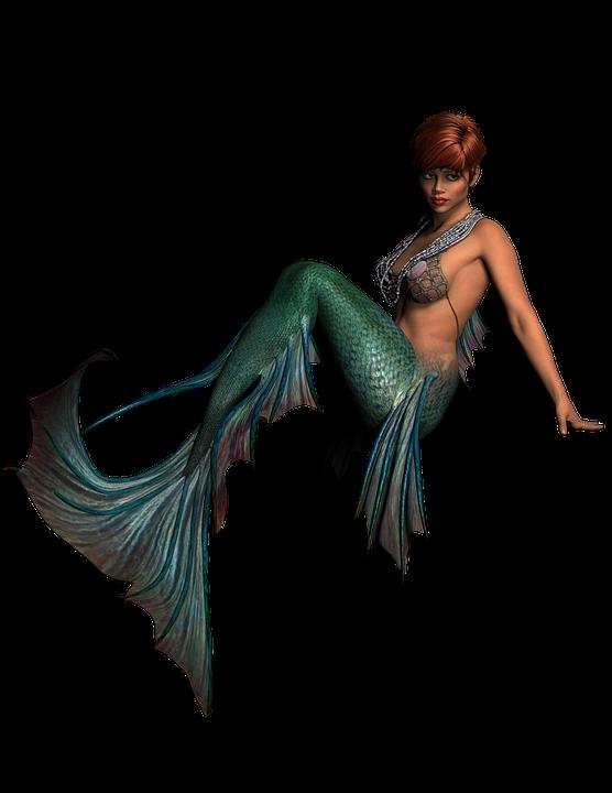 Mermaid Lady Fantasy Woman Girl Portrait Model - Mermaid, Transparent background PNG HD thumbnail