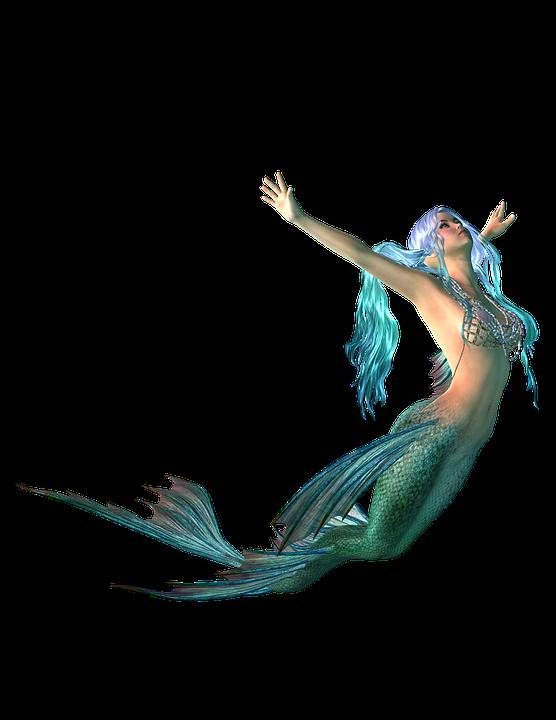 Mermaid, Png, Transparent Background, Fantasy, Blue - Mermaid, Transparent background PNG HD thumbnail