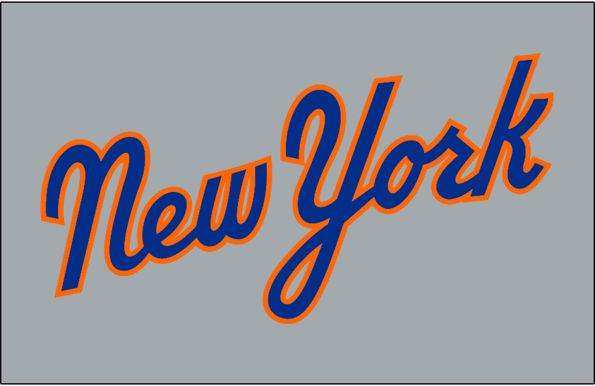 New York Mets Jersey Logo   New York Scripted In Blue And Orange On Grey   Worn On New York Mets Road Jersey In 1987 Only - New York Mets, Transparent background PNG HD thumbnail