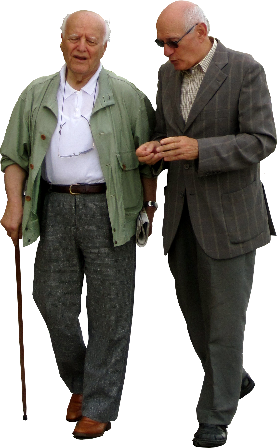 Old Man Standing Png - Two Old Men Walking Down The Street Chatting To Each Other, Transparent background PNG HD thumbnail