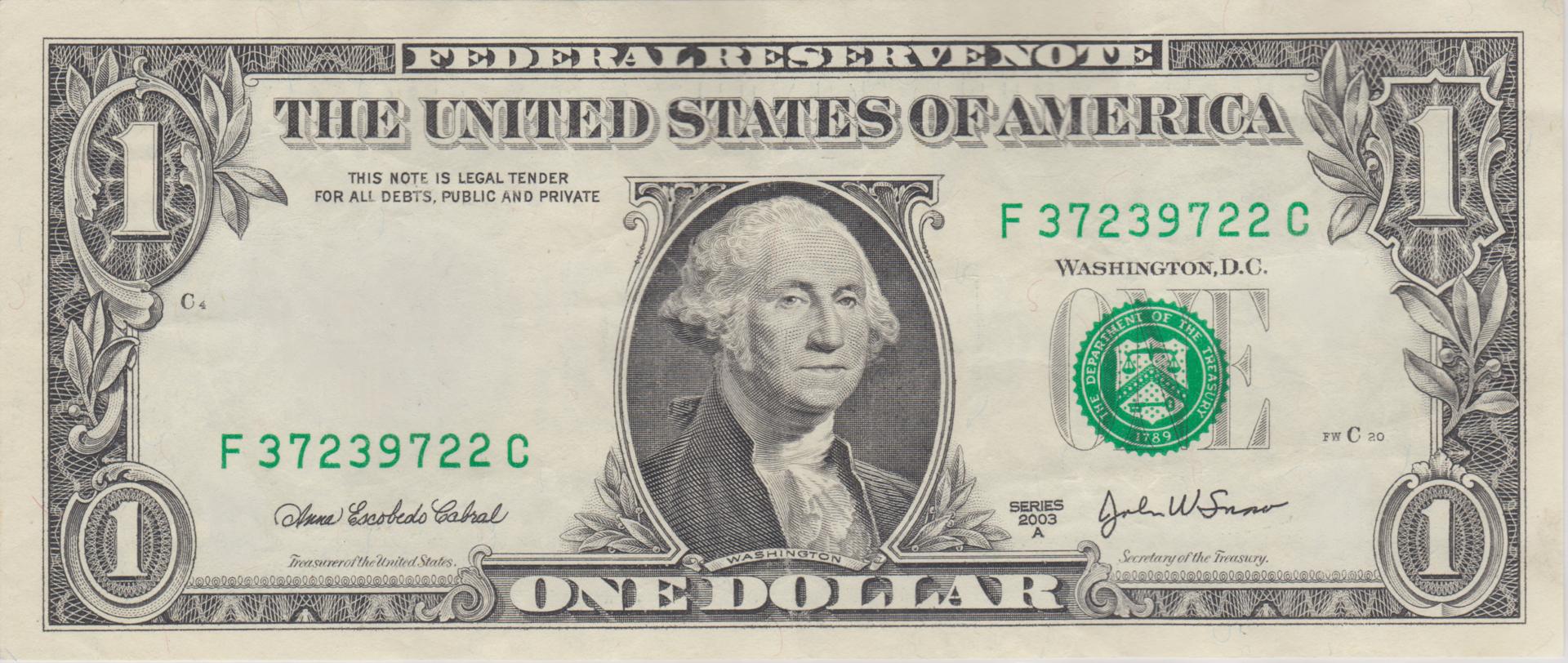 One Dollar Bill PNG