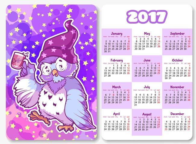 Owl Calendar Png - Cartoon Owl Calendar 2017, 2017, Cartoon, Owl Free Png And Vector, Transparent background PNG HD thumbnail