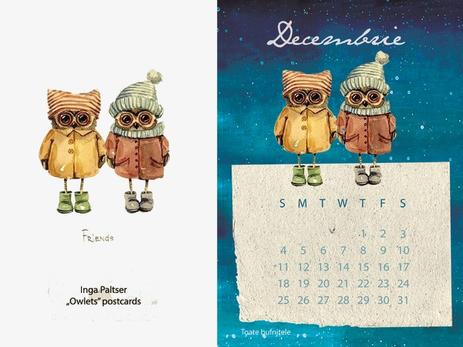 Owl Calendar Png - Hand Painted Owl Calendar Fig., Hand Painted Illustration, Cartoon Greeting Card Cover, Creative Illustration Design Free Png And Psd, Transparent background PNG HD thumbnail