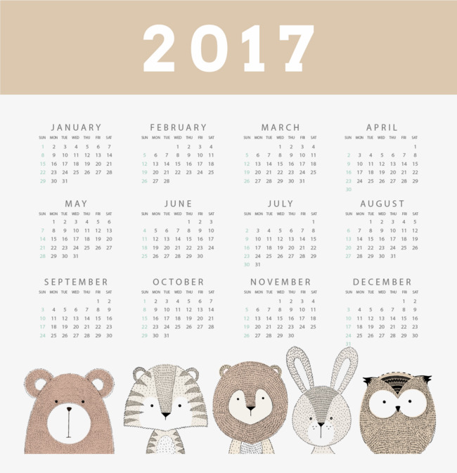 Owl Calendar Png - Vintage Style Calendar 2017 Small Animals, Retro Style, Owl, Bunnies Png And Vector, Transparent background PNG HD thumbnail