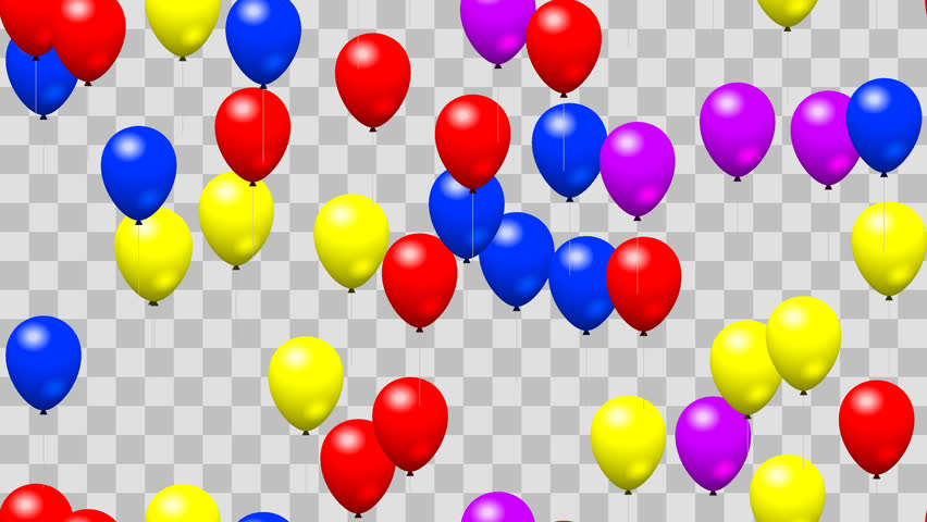 Party Birthday Balloons Seamless Loop With Png Transparency   4K Stock Footage Clip - Balloon, Transparent background PNG HD thumbnail