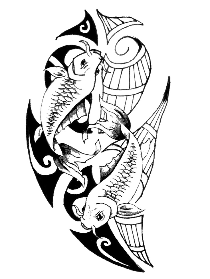 Picses Tattoo Maori D V Tattoodonkey Com.png (774× - Fish Tattoos, Transparent background PNG HD thumbnail