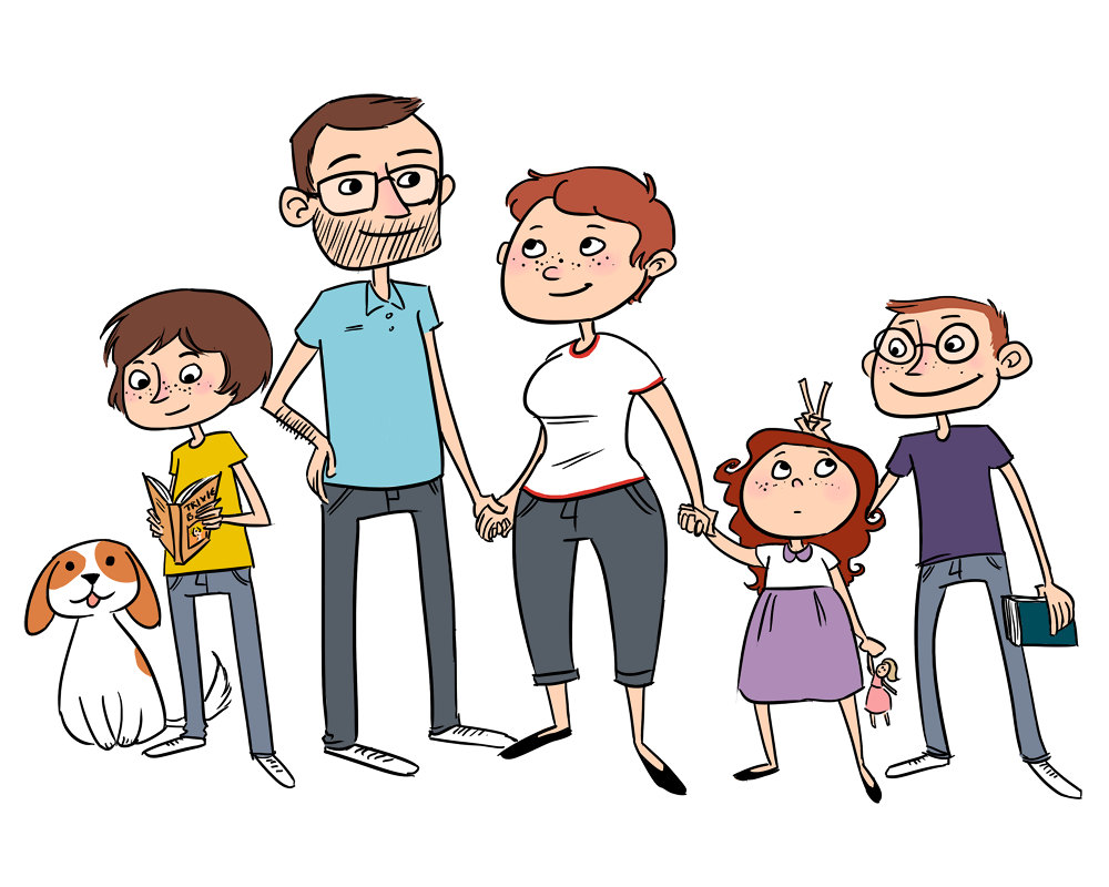 Png Family Of 6 - Family Cartoon Images, Transparent background PNG HD thumbnail