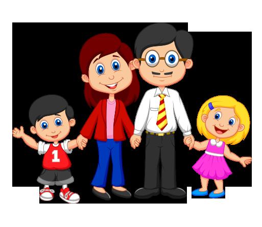 Clipart, Mutlu Çocuklu Aile - Family Picture, Transparent background PNG HD thumbnail