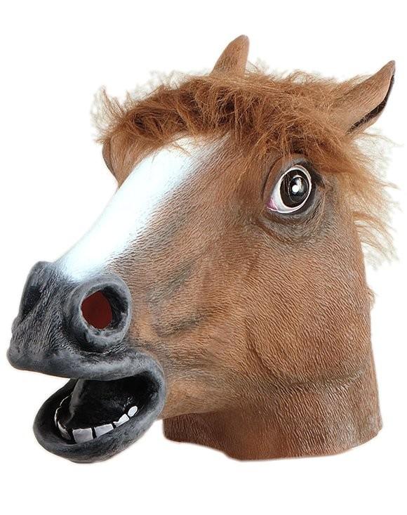 Head Mask   Rubber Horse Head Brown, Fur Mane - Horse Head, Transparent background PNG HD thumbnail