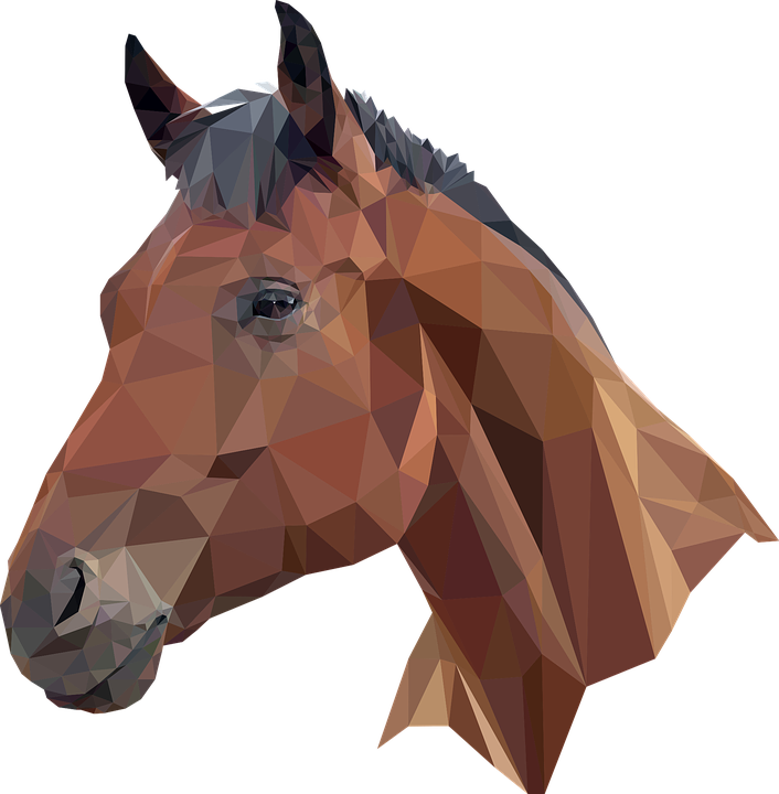 Horse Head Equine Low Poly - Horse Head, Transparent background PNG HD thumbnail