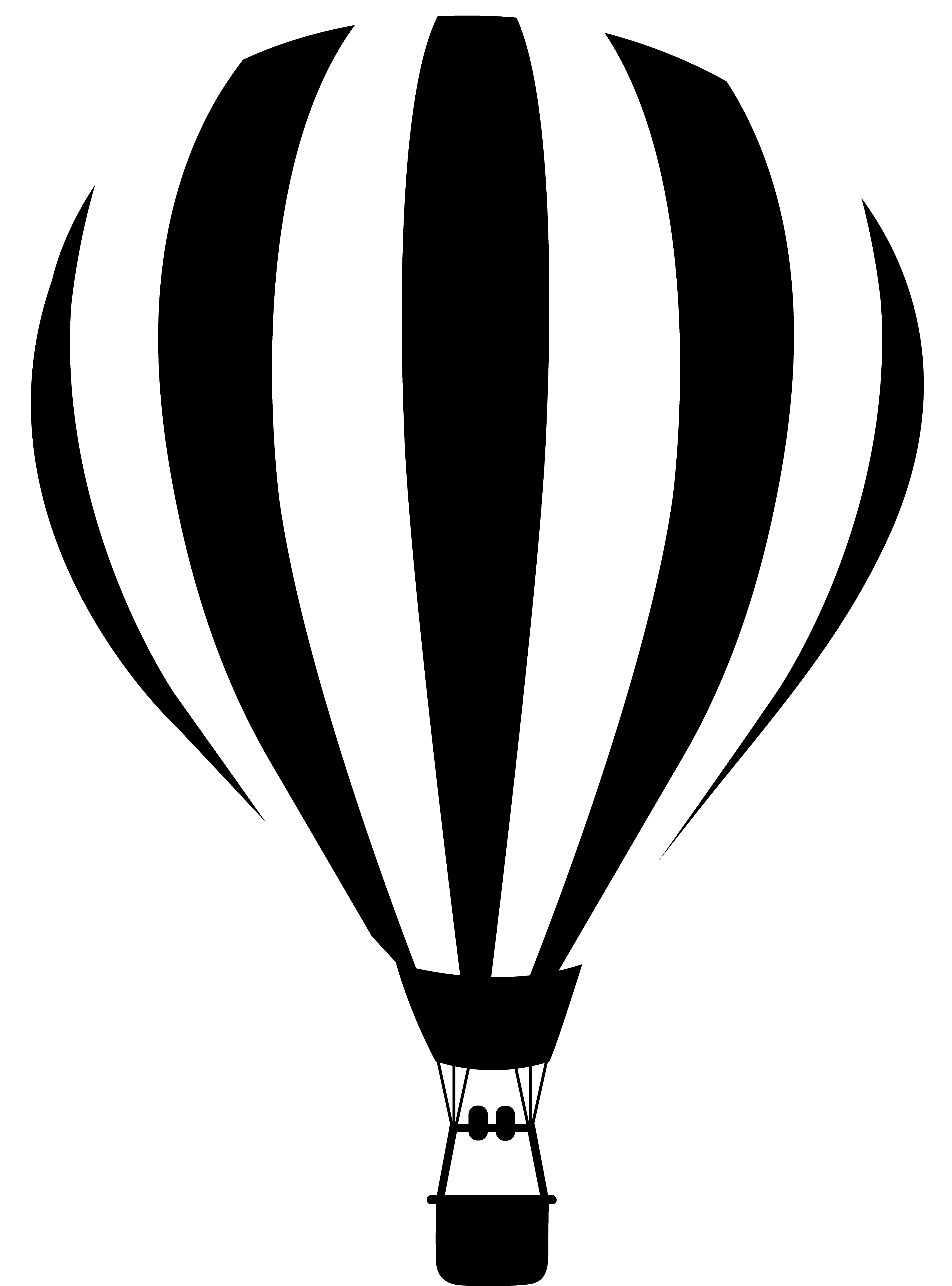 Png Hot Air Balloon Black And White - Black And White Hot Air Balloon Silhouette Png Clipart, Transparent background PNG HD thumbnail