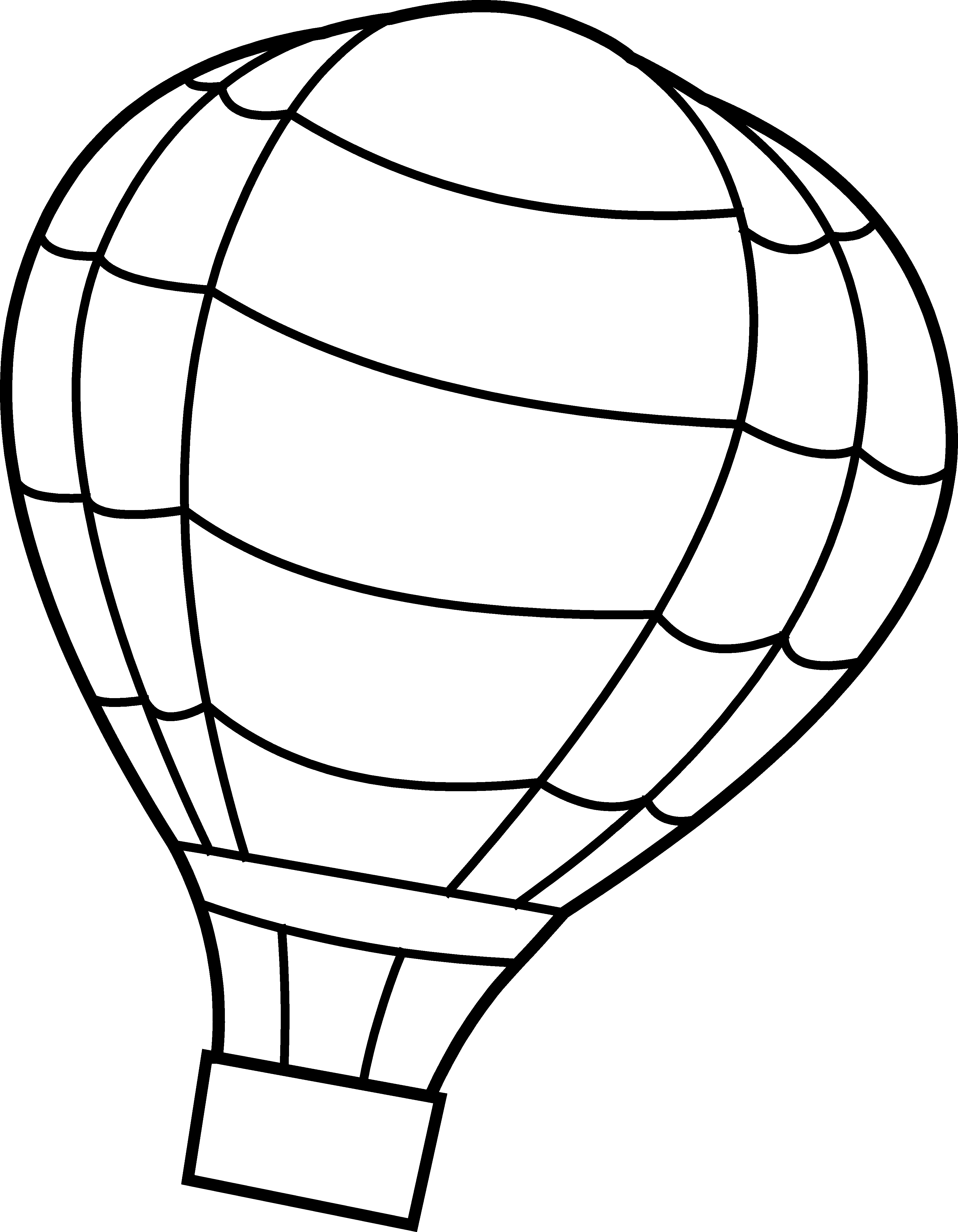 Hot Air Balloon Coloring Page   Free Clip Art - Hot Air Balloon Black And White, Transparent background PNG HD thumbnail