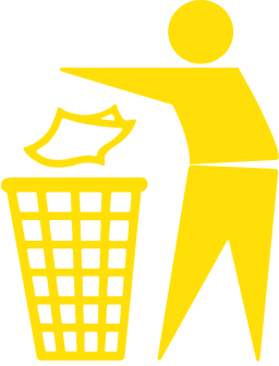 Trashcan Dont Pollute Yellow - Litter, Transparent background PNG HD thumbnail