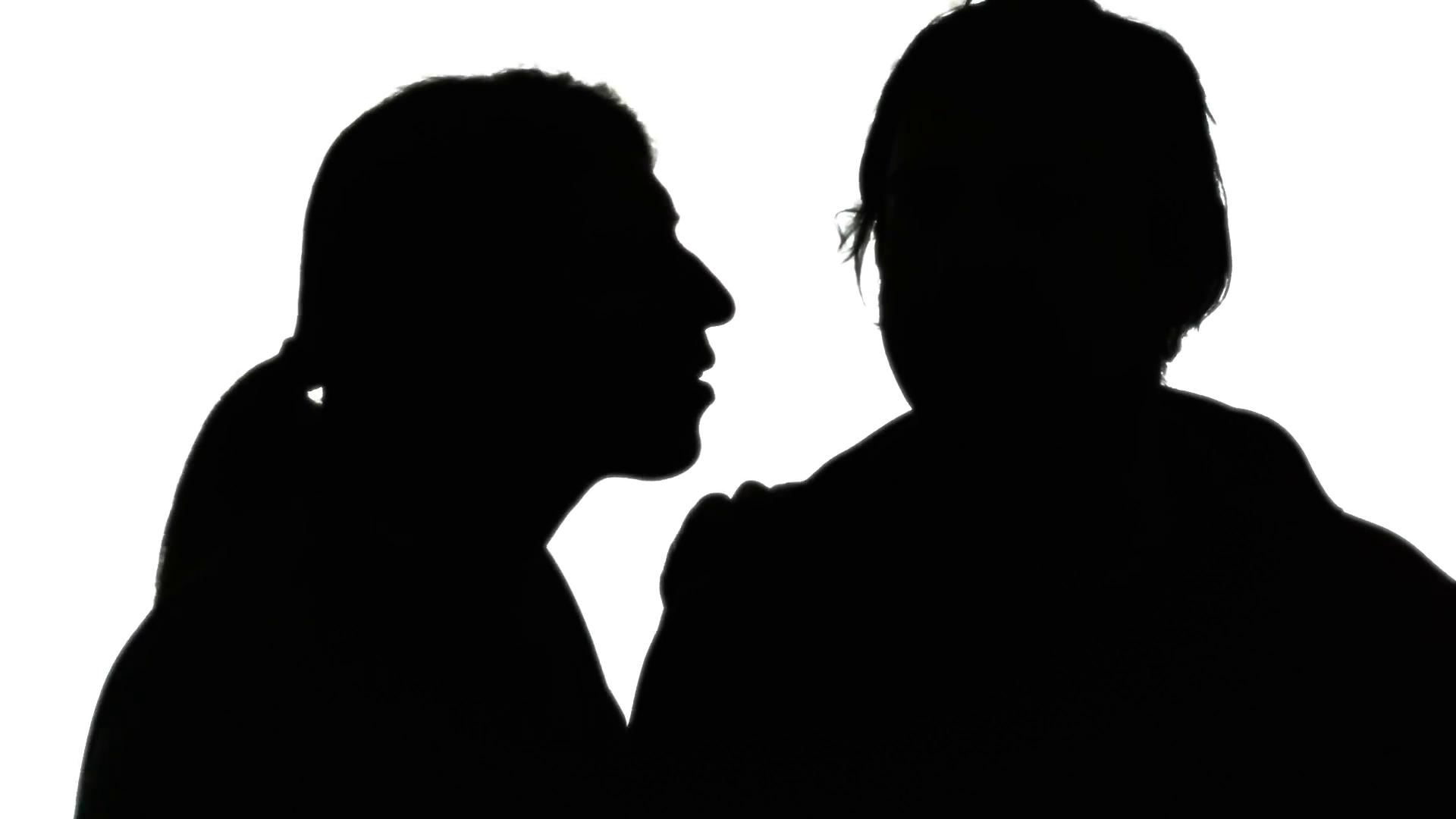 Silhouette Woman Man Secret Whisper. A Woman Whispering A Secret In The Ear Of A Man. Silhouette Shot. Stock Video Footage   Videoblocks - Whisper, Transparent background PNG HD thumbnail