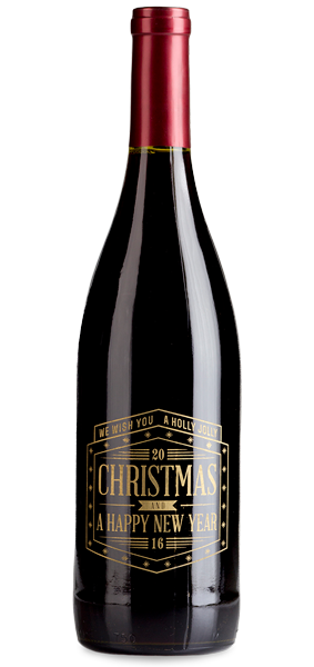 Custom Etched Holiday Wine Gift - Wine Bottle And Glass, Transparent background PNG HD thumbnail