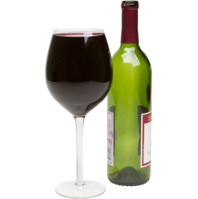 Large Wine Glass Holds A Full Bottle - Wine Bottle And Glass, Transparent background PNG HD thumbnail