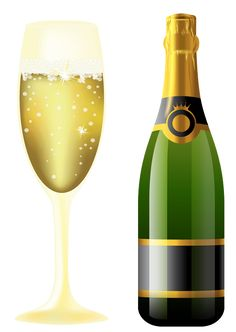 New Year Sparkling Wine And Glass - Wine Bottle And Glass, Transparent background PNG HD thumbnail