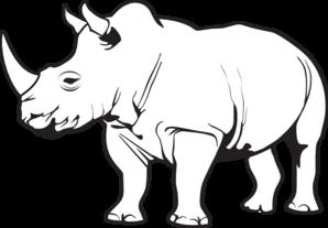 Rhino PNG Black And White
