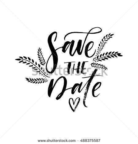 Save The Date Card. Hand Drawn Wedding Lettering. Botanical Elements. Ink Illustration. - Save The Date Black And White, Transparent background PNG HD thumbnail