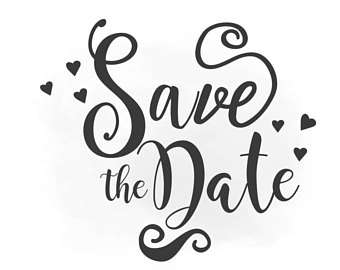 Save The Date Svg Clipart, Wedding Annuncment, Save The Date Vector, Wedding Printable - Save The Date Black And White, Transparent background PNG HD thumbnail