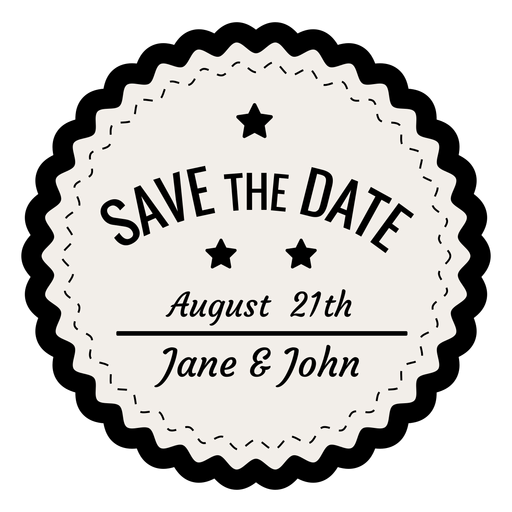 Save The Date Vintage Badge Png - Save The Date Black And White, Transparent background PNG HD thumbnail
