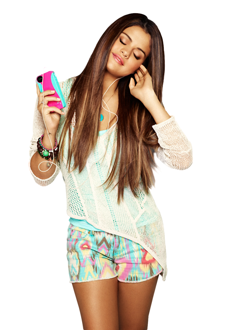Selena Gomez Listening Song Png Png Image - Selena Gomez, Transparent background PNG HD thumbnail