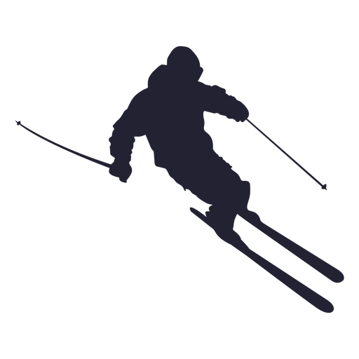 Ski Player Silhouette - Skiing, Transparent background PNG HD thumbnail
